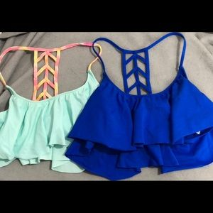 2 PINK ruffle bikini tops